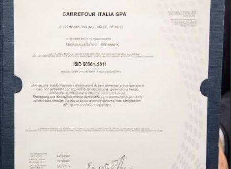 CARREFOUR PRIMA GDO IN ITALIA A OTTENERE LA CERTIFICAZIONE DEL SISTEMA DI GESTIONE DELL'ENERGIA